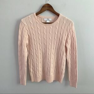 Magaschoni   Pink Cable Knit Cotton Sweater Medium
